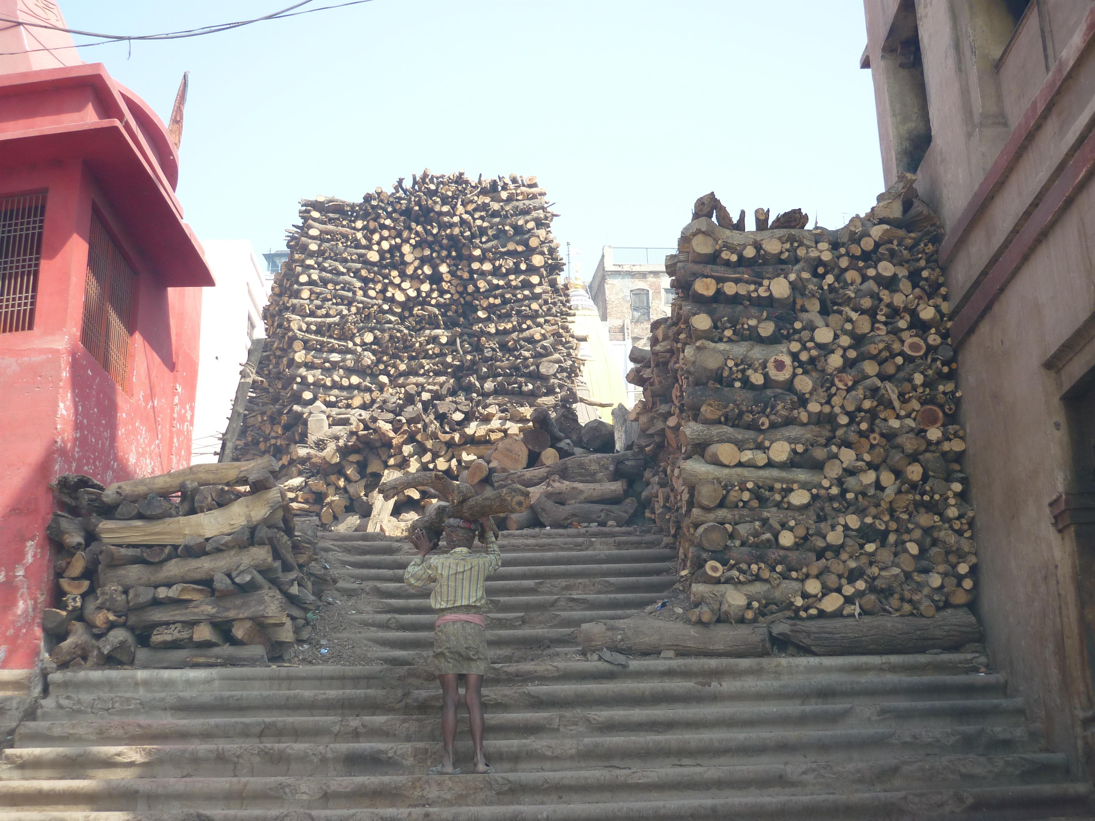 Varanasi (Manikarnika Ghat) // Als Ghat bezeichnet man die Stufen zum Ufer des Ganges. Der Manikarnika Ghat ist Haupt-Verbrennungsghat und einer der günstigsten Orte, um Verbrennungen beobachten zu können. Die Scheiterhaufen lodern rund um die Uhr. Lebende sitzen auf Bänken und blicken in die Flammen, als wäre es ein Grillfeuer. Man sieht Arme aus dem Feuer ragen, erkennt den Schädel des Toten, Asche fliegt durch die Luft und sammelt sich auf der Haut. Ist ein Scheiterhaufen erloschen, wird die Asche dem Ganges übergeben und bildet eine schwarze Schicht auf der Wasseroberfläche. Keine zehn Meter weiter baden Kinder im Fluss und prusten Wasser aus ihrem Mund. Daneben angelt ein Mann nach Fischen oder ein Sadhu kostet vom heiligen Gangeswasser oder ein Bauer treibt seine Ochsen zur Abkühlung in das Nass. Viele Scheiterhaufen benötigen viel Holz. Auf diesem Foto sehen wir einen Dom (ein Mitglied aus der untersten Kaste), der neues Brennholz für eine weitere Leiche trägt. Am Manikarnika Ghat türmt sich das Holz, ausreichend für alle Toten aus der ganzen Welt. Zu viel Tod verursacht ein ungutes Gefühl. Deshalb reise ich weiter. Und zwar in den Himalaja, dem Sitz der Götter, nach Nepal ...